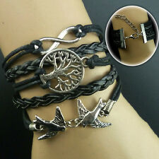 Black Steampunk Bracelet  Leather Silver Infinity Tree Birds Charms NewGift Wrap