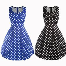 Ladies Womens Black/Blue Dot Vintage 50s Retro Pinup Party Prom Swing Dress