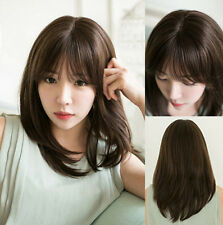 Fashion Women's Black Brown Long Straight Anime Cosplay Party Costume Wig Wigs