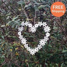 Large Floral Metal Heart White Decorative Hanging Home Love Ditsy Shabby Chic