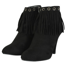 Womens ladies Chic Mid stiletto high heel fringe faux suede ankle boots shoes