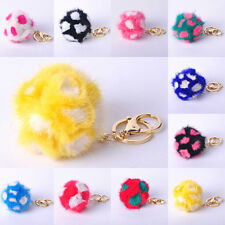 NEW!!Flowers Mink Ball Key Chain Ring Ball Bag Purse PomPom Ball Cell Phone Car