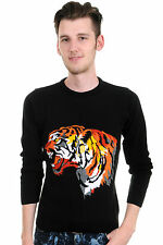 Mens 80s 90s Retro Indie Hipster Vintage Striking Tiger Jumper
