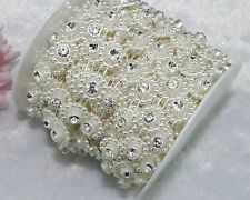 14mm Ivory Pearl Rhinestone Chain Trims Sewing Crafts Costume Applique LZ28