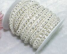 9mm Ivory Pearl Rhinestone Chain Trims Sewing Crafts Costume Applique LZ25