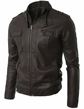 Doublju Mens Leather Jacket W/ Chest Pocket  (US-S)- Choose SZ/Color.
