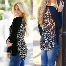 New Womens Ladies Long Sleeve Sexy Leopard Chiffon Shirt Tops Blouse T-Shirt