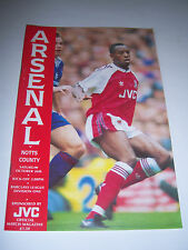 ARSENAL v NOTTS COUNTY 1991/92 - DIVISION 1 - FOOTBALL PROGRAMME