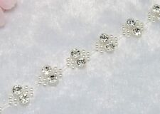 13mm Ivory Pearl Rhinestone Chain Trims Sewing Crafts Costume Applique LZ19