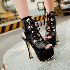 Womens Super High Heels sandals Shoes Lace ups Ankle Boots Platforms Peep Toes