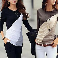 Womens Lady Casual Long Sleeve Tops Patchwork Contrast Color Slim T-Shirt Blouse