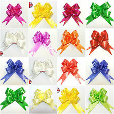 50MM LARGE RIBBON PULL BOWS VARIOUS COLOURS ORGANZA WEDDING/PARTY/GIFTWRAP
