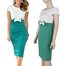Slim women lady female beauty dress office pinup party wedding green bowknot