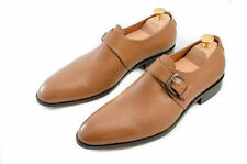 Handmade Men's Tan Leather Monk Dress Shoes With Single Strap And Buckle