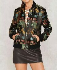 New Womens Ladies Fashion Floral Jacquard Zip Up Bomber Flight Jacket Coat SML