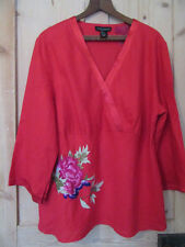 ANNE CARSON WOMAN RED LINEN TOP 3/4 SLEEVES FLORAL EMBROIDERY SIZE 2X