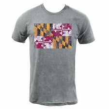 Maryland State Flag - Athletic Grey American Apparel Distressed Flag T-Shirt