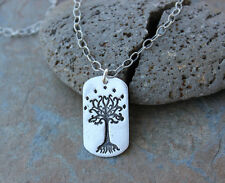 Tree of Gondor Necklace- Handmade fine silver dog tag charm- Lord of the Rings