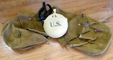 1910 ERA US ARMY CANTEEN WITH LEATHER STRAP & ROUGHOUT LEATHER SADDLE BAGS AS IS