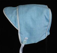 New Handmade Light Blue Linen with White Trim Baby Boy Hat