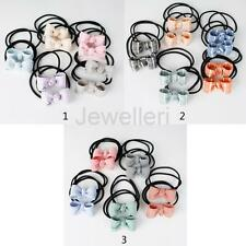 10 Lot Elastic Kids Women Hair Ties Band Bow Hairbows Ponytail Holder Wholesale