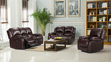 New Modern Valencia Luxury Bonded Leather Recliner Sofa - Brown