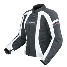 Dririder Airstream Motorcycle Sports Touring Vented Ladies Jacket Blk/Wh 6-22
