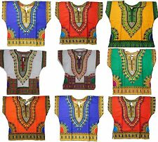 Kids Dashiki Boys African Mexican Poncho Hippie Blouse Girls Shirt Top One Size