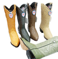 Men's Genuine Wild West Real Ostrich Leather Western Cowboy Boots In 5 Colors