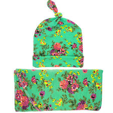 Swaddle Blanket Matching Floral Knotted Hat Newborn Baby Burp Cloth Cap Sets
