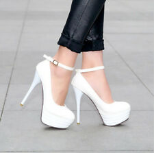 Korean womens Sexy ankle strappy pumps shoes patent platform thin high heels New