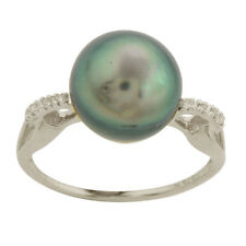 Tahitian Genuine Pearl & Diamond Ring In 9 Kt Solid White Gold  Jewelry