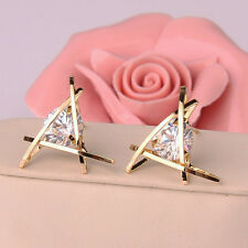 2 color Woman fashion earrings triangle inlay zircon crystal earrings delicate