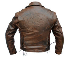 Distressed Brown Flying Eagle Leather Jacket
