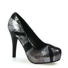 Iron Fist Womens Jacked Up Pewter Platform Heel SlipOn Casual Formal Lady Shoes