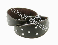 GREYHOUND SALUKI WHIPPET DIAMANTE BROWN LEATHER DOG COLLAR SOFT SUEDE PADDED