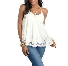 NEW flowy features a sheer floral lace Top Shirt Blouse