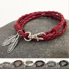 Leather Wrap Braided Wristband Couple Cuff Punk Leaf Bracelet Bangle Women men