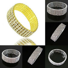 Shinny 5 Rows Crystal Rhinestone Bracelet Wrist Wedding Bangle Lady Jewelry Gift