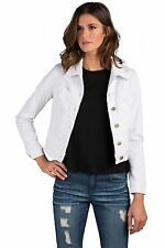 Standards & Practices Women Vespa Stretch Woven Optic White Cropped Denim Jacket