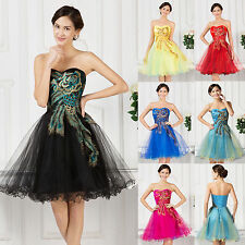 Luxury Peacock Embroidery  Cocktail Strapless Short Dress Organza Party Evening