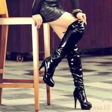 New Womens Over The Knee High Thigh Boot Stiletto Patent Leather High Heel Shoes