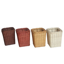 3L Square Woven Rattan Wastepaper Basket Plastic Insert And Lid Pure Handmade