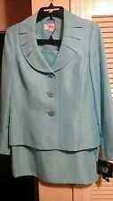 2PC NEW LESUIT TUILERIES Blue (Popsicle)  Shimmer Skirt Suit, NWT