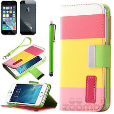 For iPhone 5S/5/SE Wallet Case Flip Cover PU Leather Hard Shell Magnetic Pouch