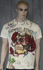 Christian Audigier Skull Roses T-Shirt Allover Print Off White