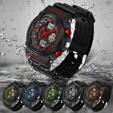Mens Fashion LED Digital Date Alarm Waterproof Shockproof Sport Army Wrist Watch