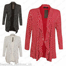 Ladies Women's Polka Dot Print Waterfall Drape Open Cardigan Top Plus Size 14-28