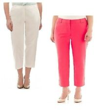 Liz Claiborne Womens Emma Ankle Pants solid cotton spandex size 8 22W 24W NEW