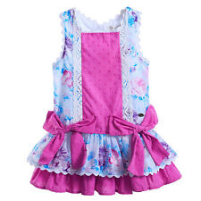 Girls Floral Tutu Dress Summer Party Princess Wedding Pageant COTTON Drop Waist